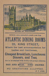 Advert for the Atlantic Dining Room, reverse side